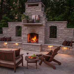 fiberglass-swimming-pool-with-firepit-with-ruin-windows